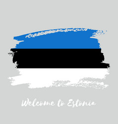 estonia watercolor national country flag icon vector image