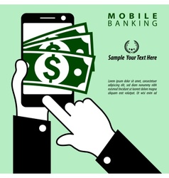 Fast money and mobile equipment in hand vector