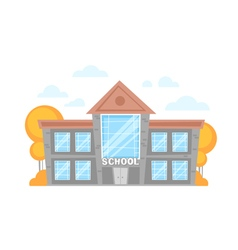 Flat cartoon school building vector