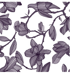 flowering magnolia hand drawn monochrome seamless vector image