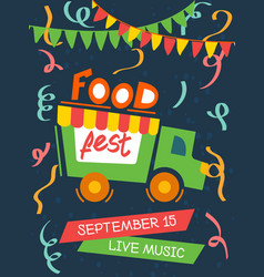 food festival with live music poster vector image