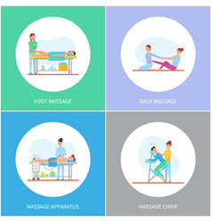 Foot and back massage apparatus icons set vector