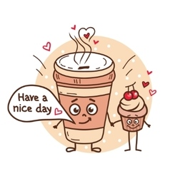 Fun coffee and cupcake vector