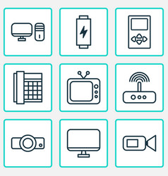 gadget icons set with tv modem desktop pc and vector image