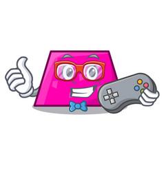 Gamer trapezoid mascot cartoon style vector