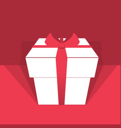 gift box with red ribbon holiday background vector image