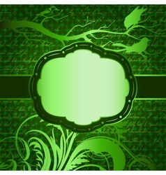 Green luxury background with tree branch and birds vector image