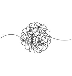 hand drawn tangle of tangled thread sketch vector image