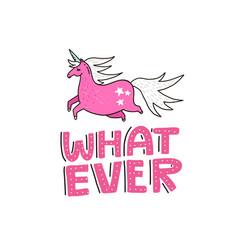 Handdrawn unicorn lettering vector