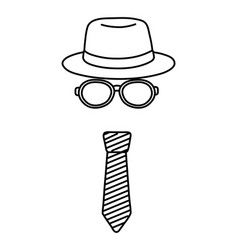 hat with glasses and tie black and white vector image