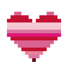 Heart shape with colorful horizontal lines pixel vector