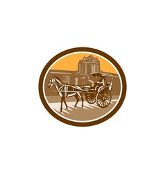 Horse-Drawn Carriage Intramuros Woodcut Retro vector