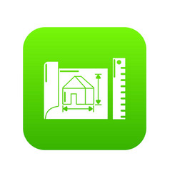 house plan icon green vector image