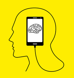 human head formed from smart phones usb cable vector image