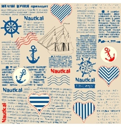 Imitation of newspaper in nautical style with vector