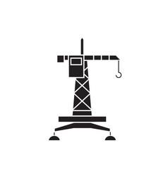industrial tower crane black concept icon vector image