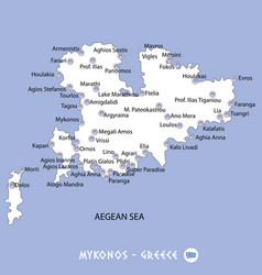Island of mykonos in greece white map and blue vector