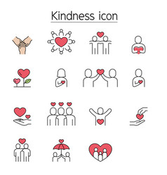 Kindness charity donation fill color line icons vector