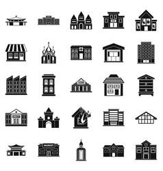 Land development icons set simple style vector