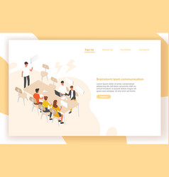 landing page template with group of people or vector image