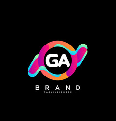 Letter ga initial logo with colorful vector