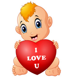 little baby holding red heart vector image