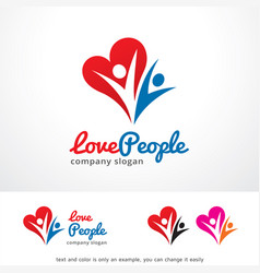 Love and people logo template design vector