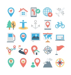 Map and Navigation Colored Icons 3 vector image