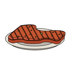 meat on dish vector image
