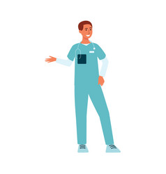 Medical male doctor standing and gesticulating vector