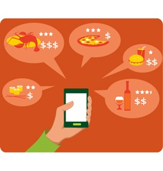 Mobile search for restaurants vector