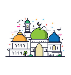 Modern line art islamic mosque building vector