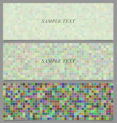 Multicolored square mosaic pattern banner set vector