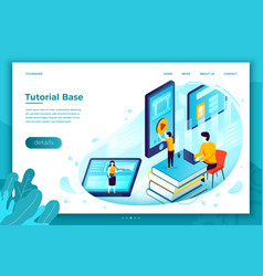 Online tutorial school learning process vector