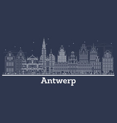 Outline antwerp belgium city skyline with white vector