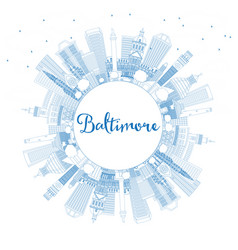 outline baltimore maryland usa city skyline with vector image