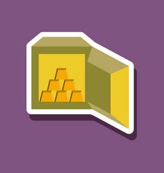 Paper sticker on stylish background gold bars vector
