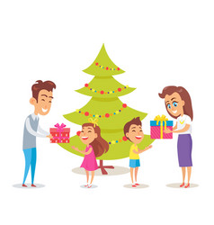 Parents giving gifts to their happy children vector
