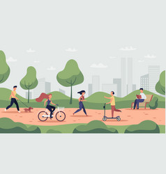 park activities outdoor sport workout and healthy vector image