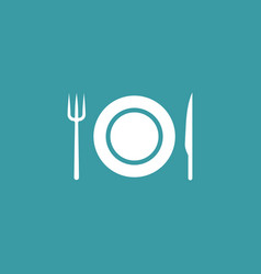 plate knife and fork icon simple food element vector image