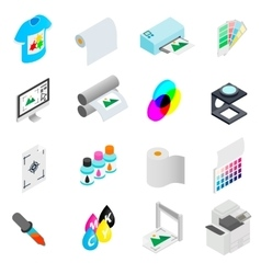 Printing icons set isometric 3d style vector
