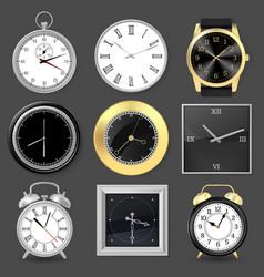 realistic clocks wristwatch alarm clock vector image