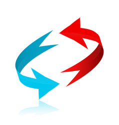 red and blue arrows in 3d circle vector image