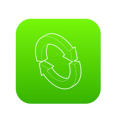 refresh icon green vector image