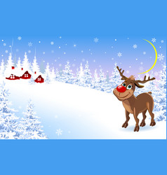 reindeer on a winter background greeting card 1 vector image