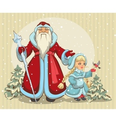 Russian Santa Claus Grandfather Frost and Snow vector image