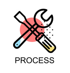 screwdriver and wrench icon for progress vector image