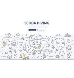Scuba Diving Doodle Concept vector