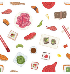 seamless pattern with japanese sushi sashimi vector image