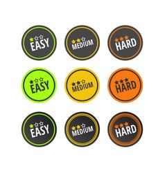 Set of labels gradation of levels easy medium vector